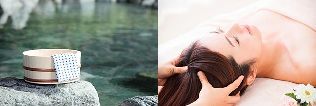 温泉の画像とヘッドスパを受ける女性の画像